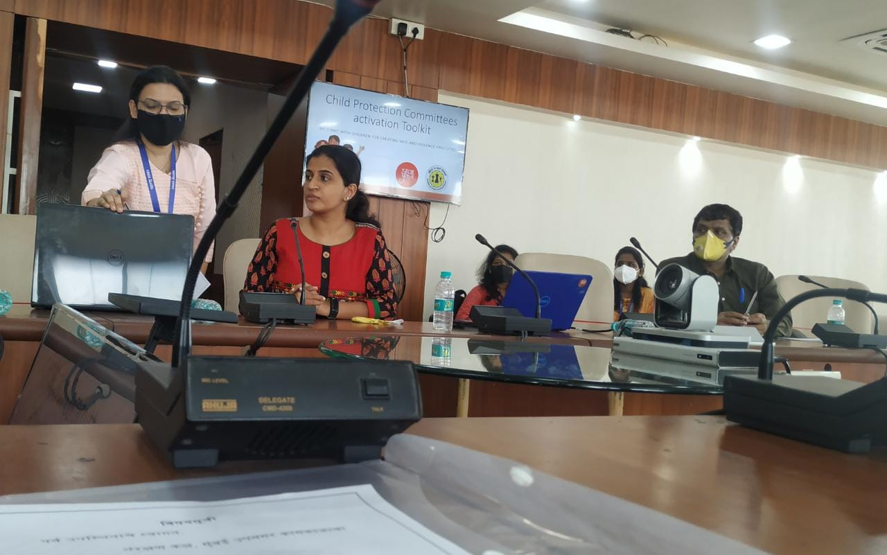Alicia (second from right) during a meeting with the District Collector of Mumbai Suburban where she presented YUVA's toolkit for forming and activating Child Protection Committees (CPCs).