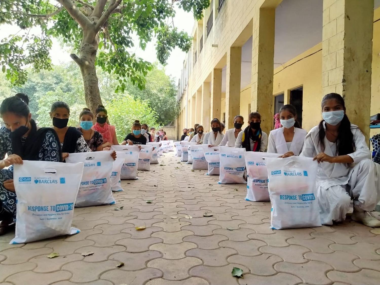 Nav Srishti Distributing food rations in Delhi. Photo provided by Rise Up Leader Reena Banerjee.